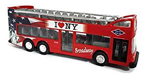 I Love New York Diecast Metal Red Double Decker Bus with Pullback Motor Action