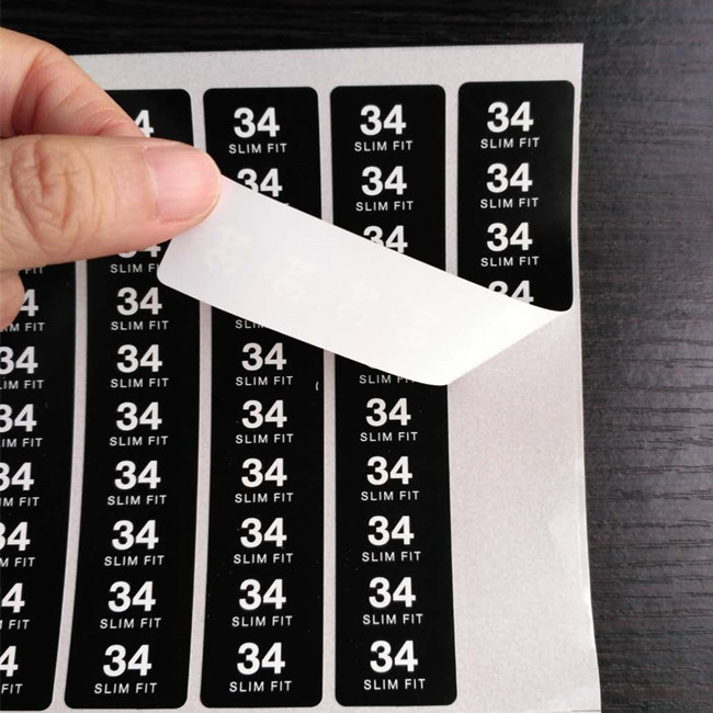 Specific PE label size sticker for garment clothing use only