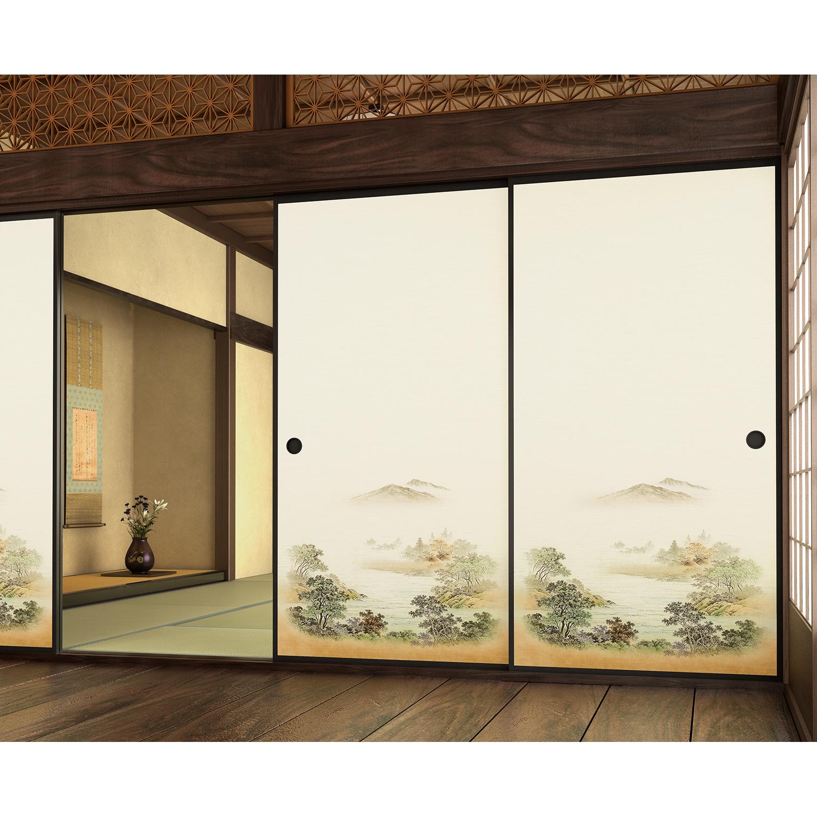 日本スタイルスライディングドア皮とスティック壁紙インテリア Buy