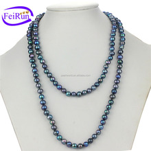 FEIRUN 7mm off round 40inches peacock color pearl necklace knot, bridal pearl necklace, pearl necklace statement