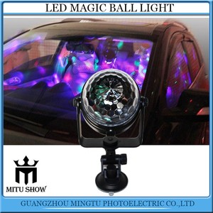 Mini RGB Led Magic Rotating Ball Light Sound Control with USB Cable Car Sucker Led Ball Lights