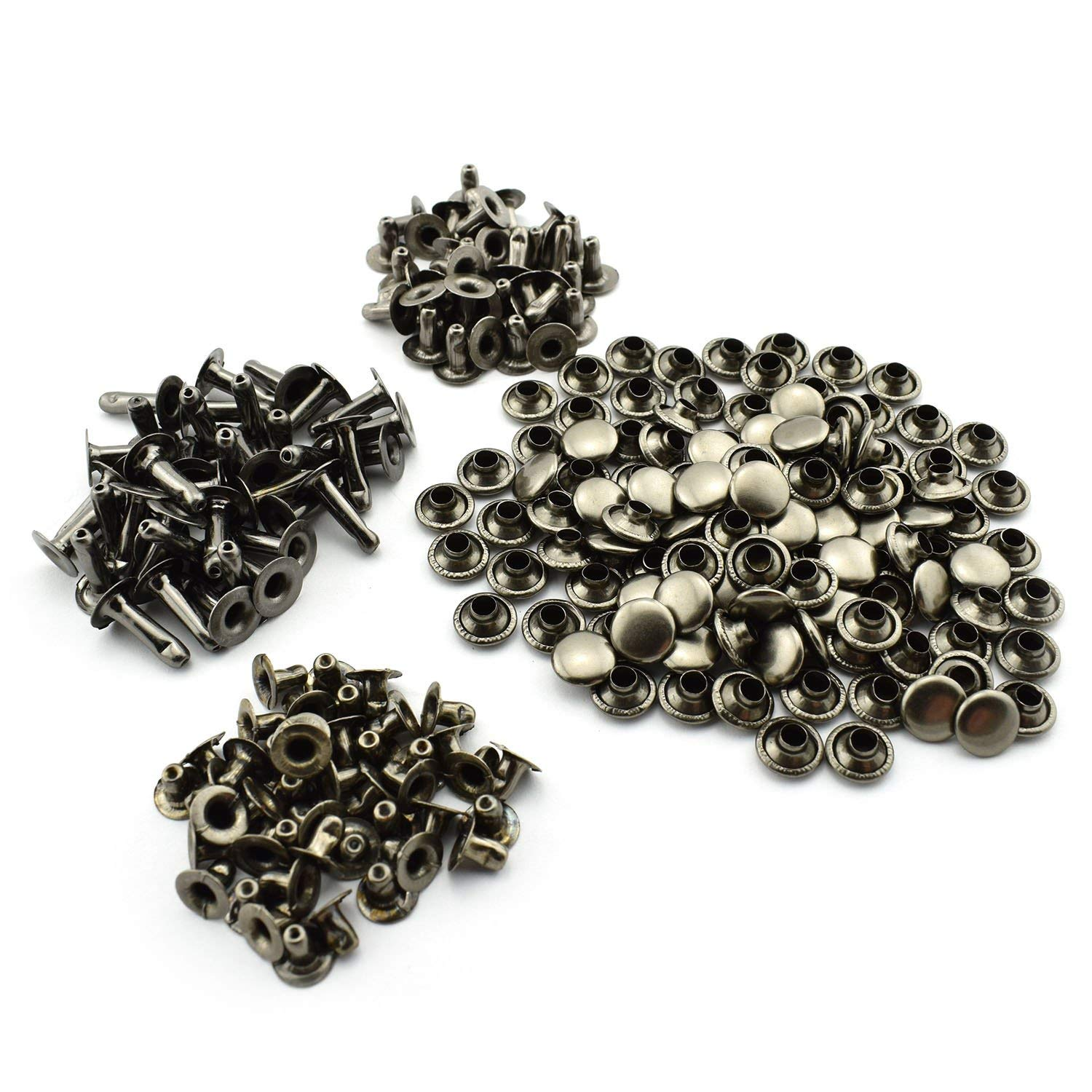 "RuiLing 120pcs 5/16"" Black Rapid Rivets Assorted Kit Round Mushroom Decorative Rivets 8x6/8/12mm DIY Leather Craft Studs Set 3 Length 1/4"" 5/8"" 1/2"""