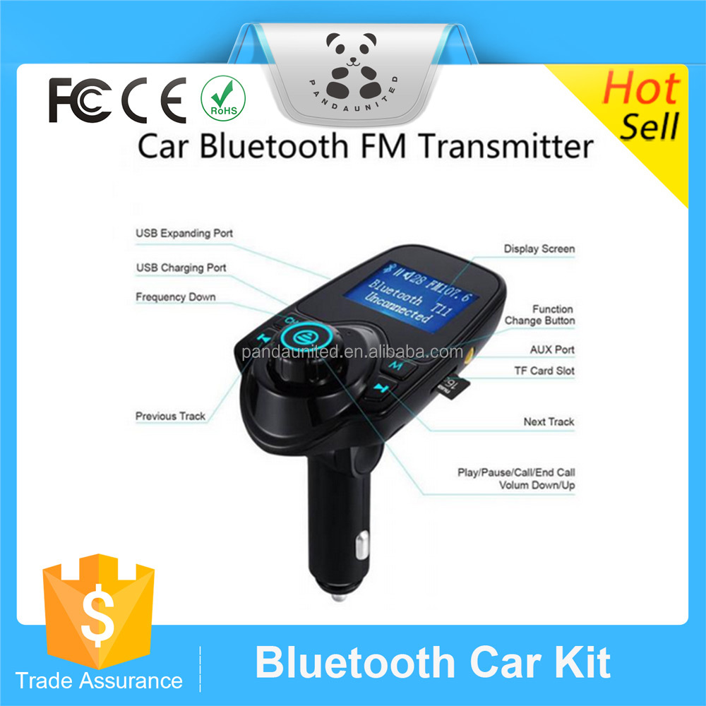 Bluetooth Car Kit Hands Free Handsfree FM Transmitter Receiver 5 V Ganda USB Charger Mobil T11 Multifungsi Nirkabel MP3 Player