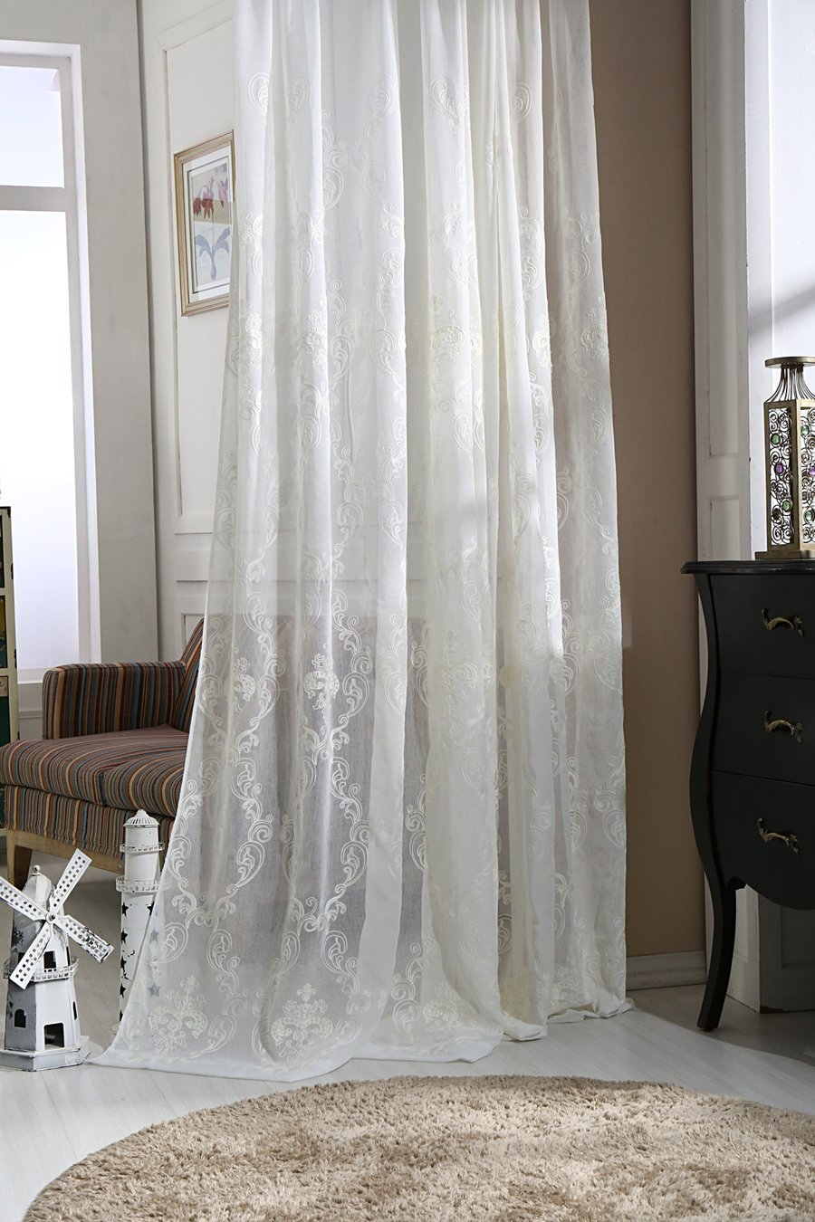 e6a23fda2e8 Get Quotations · ZWB Floral Pattern Embroidered Cotton White Sheer Curtains  Sheer Voile White Luxurious High Thread Window Curtains