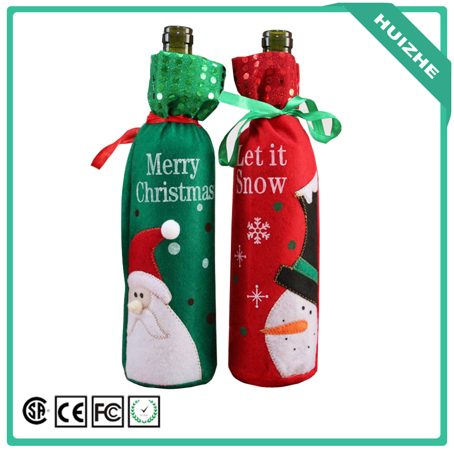 1pcs Christmas Decoration Red Wine Bottle Cover Bags Santa Claus Dinner Table Decorations Clothes With Hats Home Party Decors