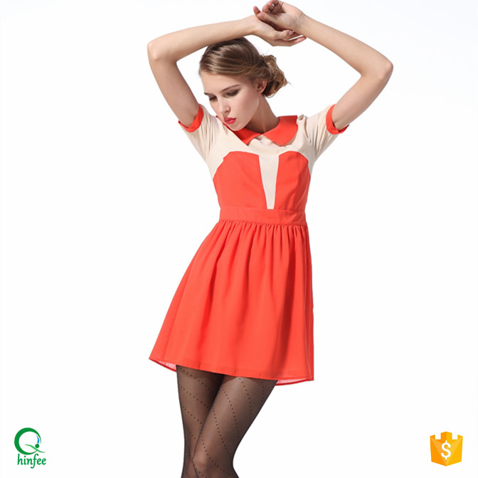 D054 Fashion Young Ladies Splice Short Dresses