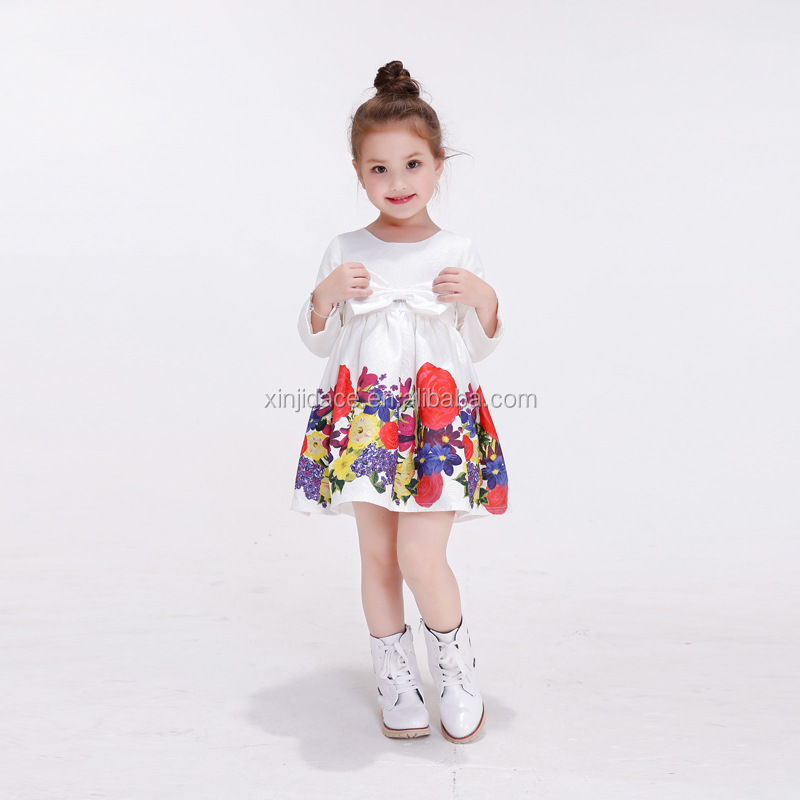 Kids girls party dress flower printed long sleeve latest frock designs