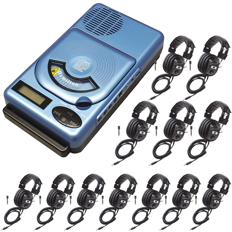 HamiltonBuhl HACX-205 Portable Classroom CD Player w/USB & MP3 & 12 Headphones