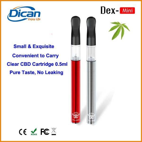 2016 new slim thc oil pen e-cigarette mini empty bud cartridge 0.5ml cbd
