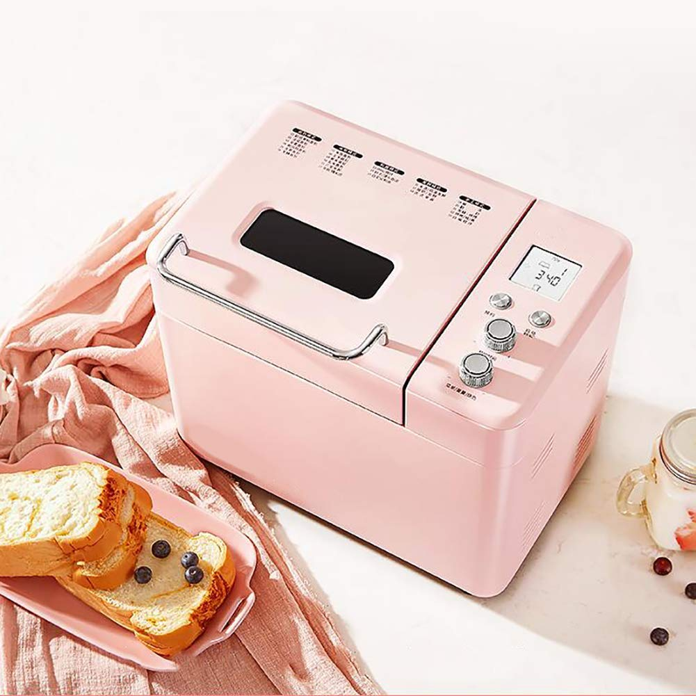 LJ-MBJ Household Breadmaker, Fully Automatic Bread Machine, Nuts and Fruit Dispenser, Gluten Free Setting, Multifunction Intelligent Bread Maker-Pink