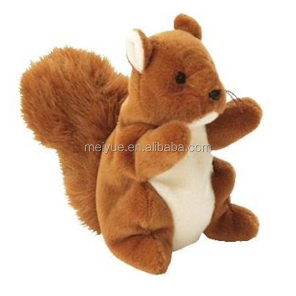 Cute Plush Toys Sitting Big Tail Brown Squirrel
