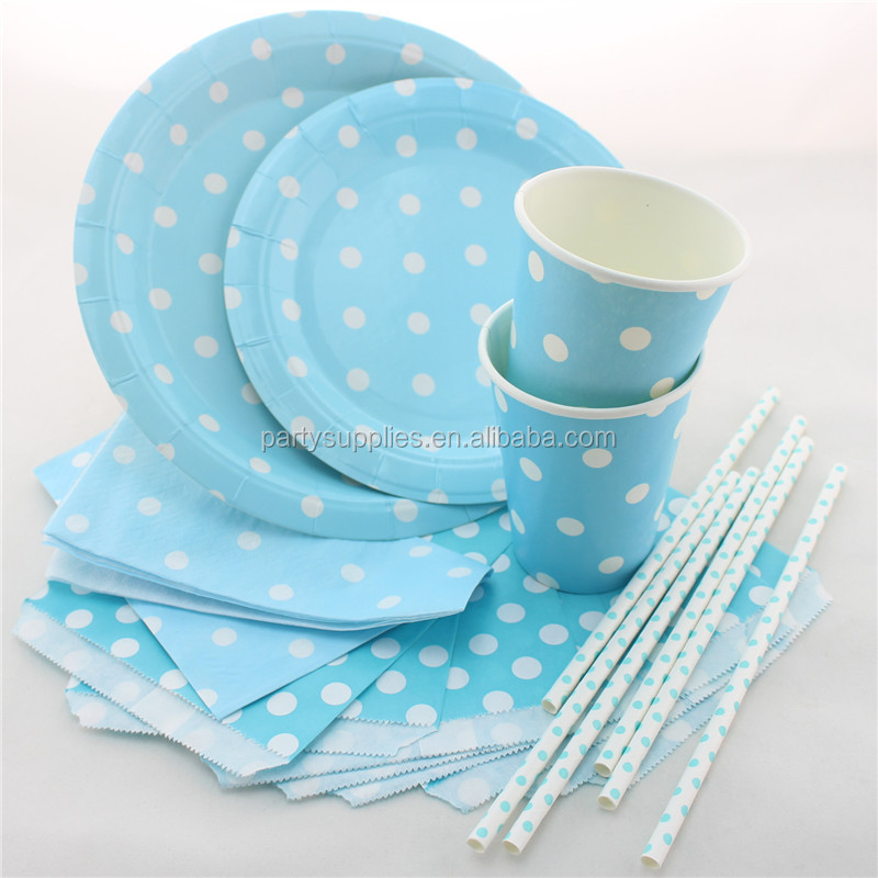 Eco-friendly Party Paper Plates Cups Napkins Bags Straws Yellow Polka Dot Tableware for Wedding  sc 1 st  Alibaba & Eco-friendly Party Paper Plates Cups Napkins Bags Straws Yellow ...