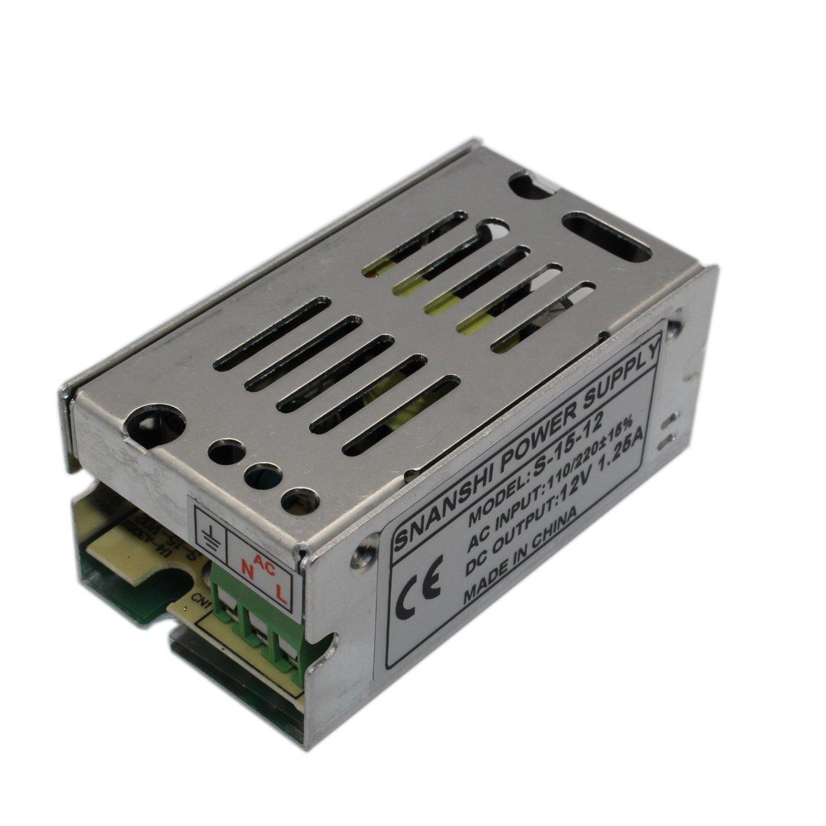 SNANSHI 12V 1.25A 15W LED Switching Power Supply Transformer 110V 220V AC to DC 12V output, for LED Strip light for CCTV