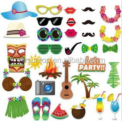 Hawaii Theme Summer Party Photo Booth Props Party Mask Set Decorations Wedding Gifts for Guests 32pcs/set