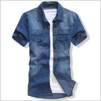Fashion shirt Latest dresses casual men half sleeve jeans shirts