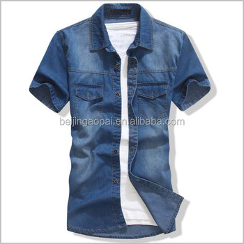 Fashion shirt Latest dresses casual men half sleeve jeans shirts