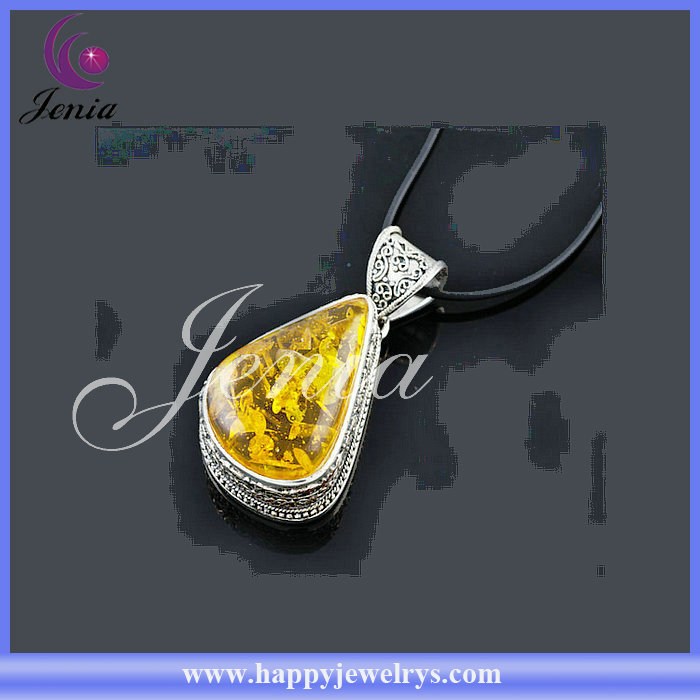 NEWEST ARRIVAL! HOTTEST DESIGN BEAUTIFUL AMBER PENDANT WITH THAI SILVER PLATED CHAIN JEWELRY PENDANTS(C0012D22)
