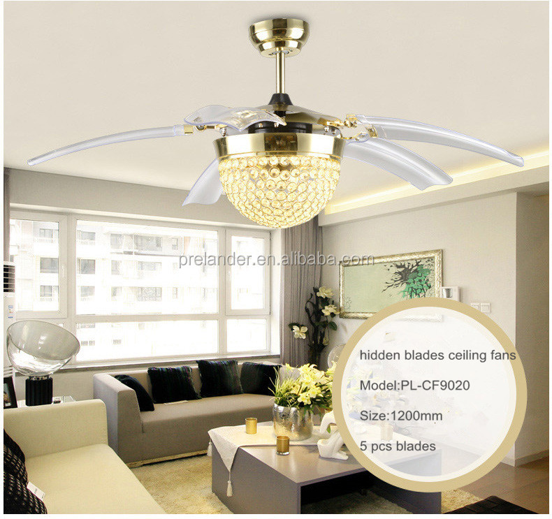 High Quality Modern Decorative Lighting National Ceiling: Ceiling Fan Hidden Blades Transparent Crystal 5 Blades