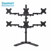 Six Arm LCD LED Monitor Stand Desk Mount Bracket Heavy Duty & Fully Adjustable 6 Screens 180 degree Pull Out Swivel Arm