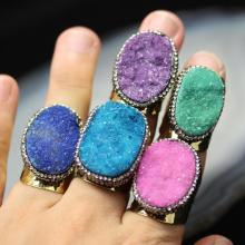 AM-YGH314 Oval Titanium Rainbow Druzy Natural Quartz Stone Ring for Women,Handcrafted Pave CZ Electroplated Gold Rings