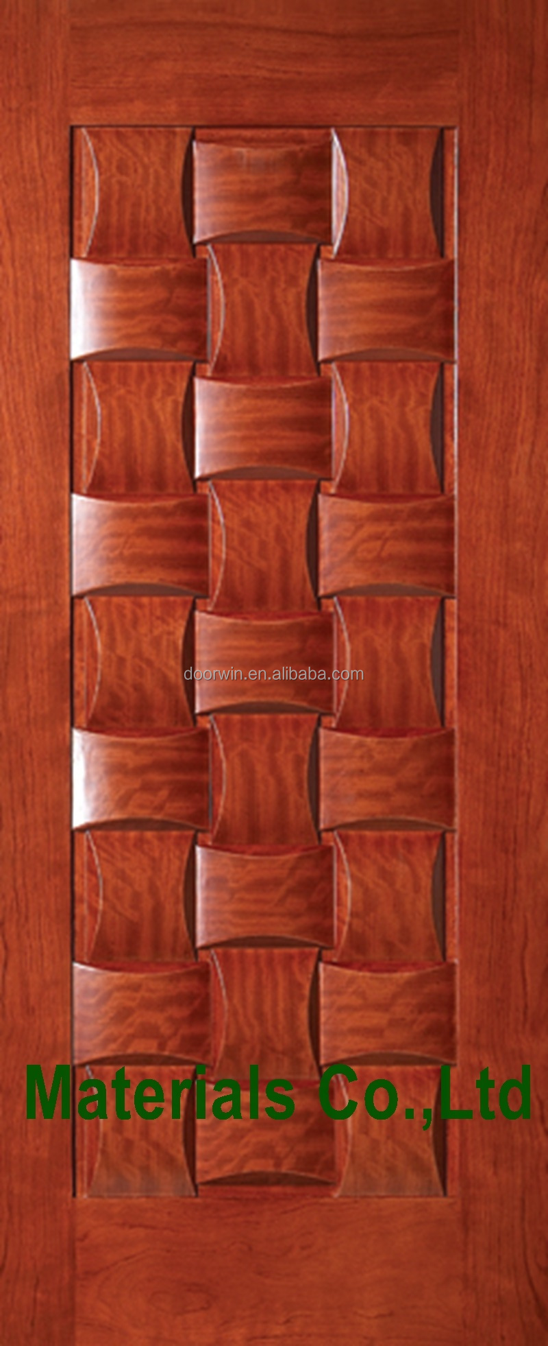 Fancy mahogany solid wood main arch room door carving
