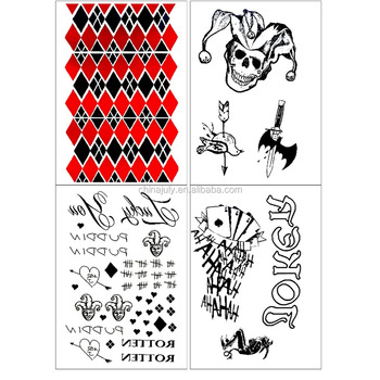 Hot Suicide Squad Harley Quinn Stock Temporary Stickers Tattoo For
