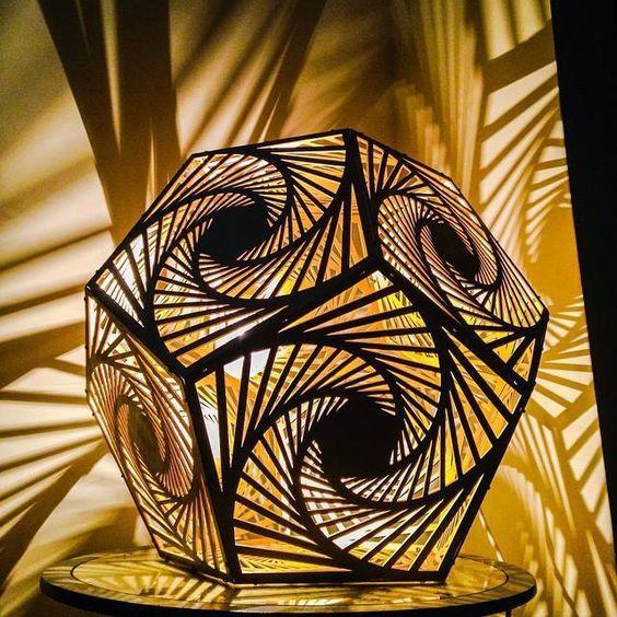 Fancy art mind lamps pentagon wooden laser cut lamp shades