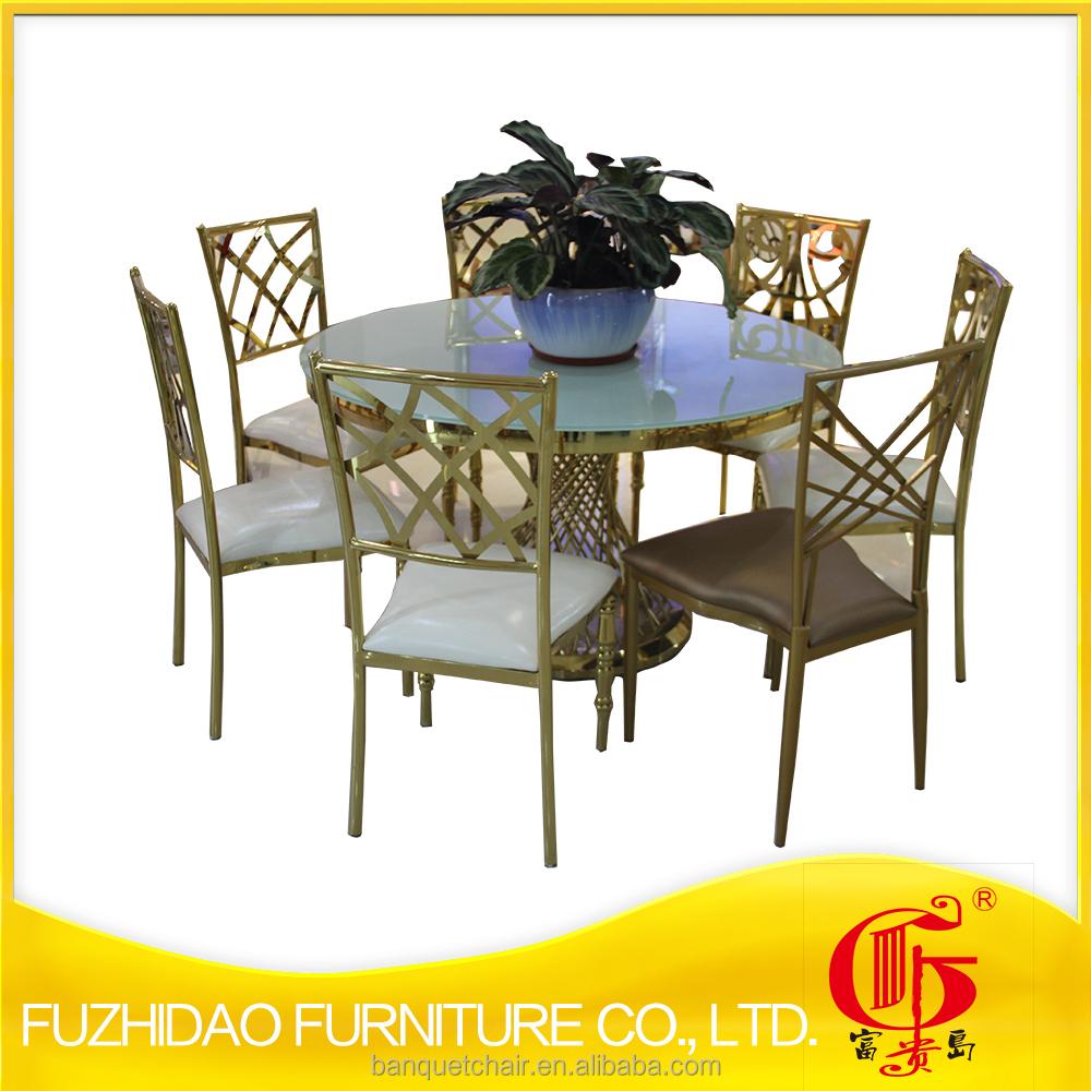 Noble acero Inoxidable con mesa de comedor de vidrio conjunto-Mesas ...