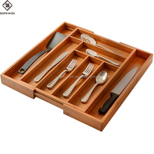Wooden kitchenware bamboo wood cutlery tray drawer organizer