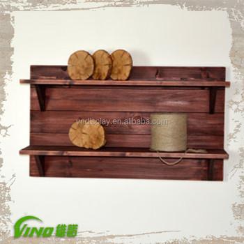 Vintage Wooden Shelf Bracket Designs Handmade Oak Divider Shelves Rustic Storage Organizer Hanging Shelving
