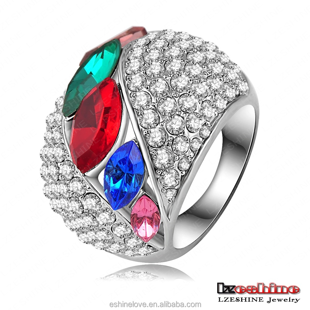 Hipster Design Wedding Ring Platinum Plated Full Crystals Studded Men Ring CZ Rhinestone Party Ring Ri-HQ0354