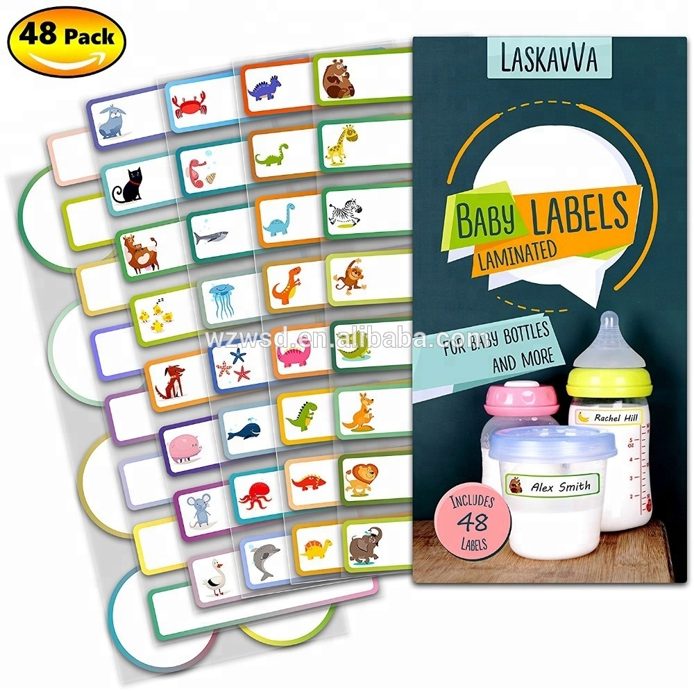 Baby Bottle <strong>Labels</strong> for Daycare Kids Adhesive Name Tags Personalized <strong>Labels</strong> Dishwasher Safe Waterproof-Self-Laminating Sticker