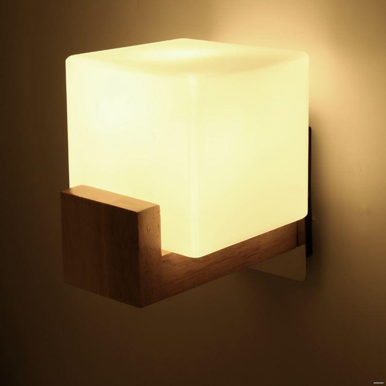 Hot sale decorative unique design modern wood glass indoor wall lamp