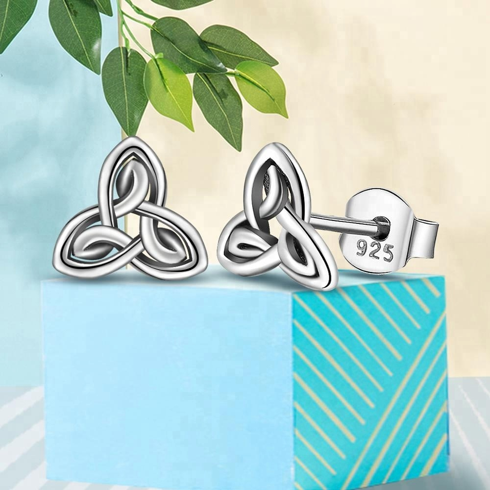 11c8ea86b106 Fashion Good Luck Antique Sterling Silver Irish Trinity Knot Stud Earrings  for Lover Anniversary Jewellery