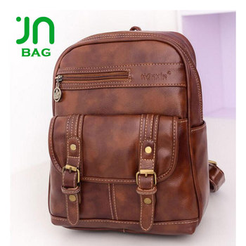 242fa703a0 JIANUO Women PU Leather Backpack 15.6inch Laptop Vintage College School  Rucksack Bag