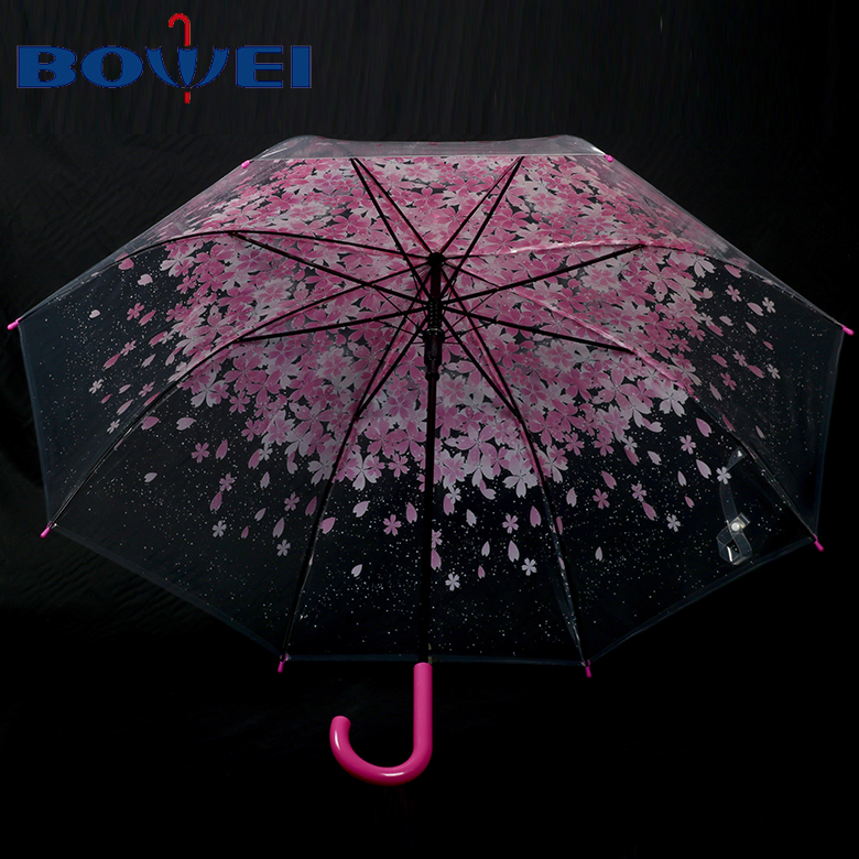 China oriental beautiful flower auto open transparent material straight poe umbrella