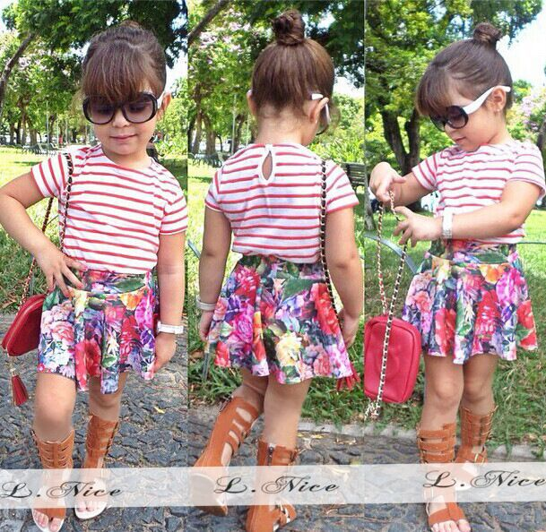 Floral Kids Summer Cotton Clothing Set Baby Girls Boutique ...