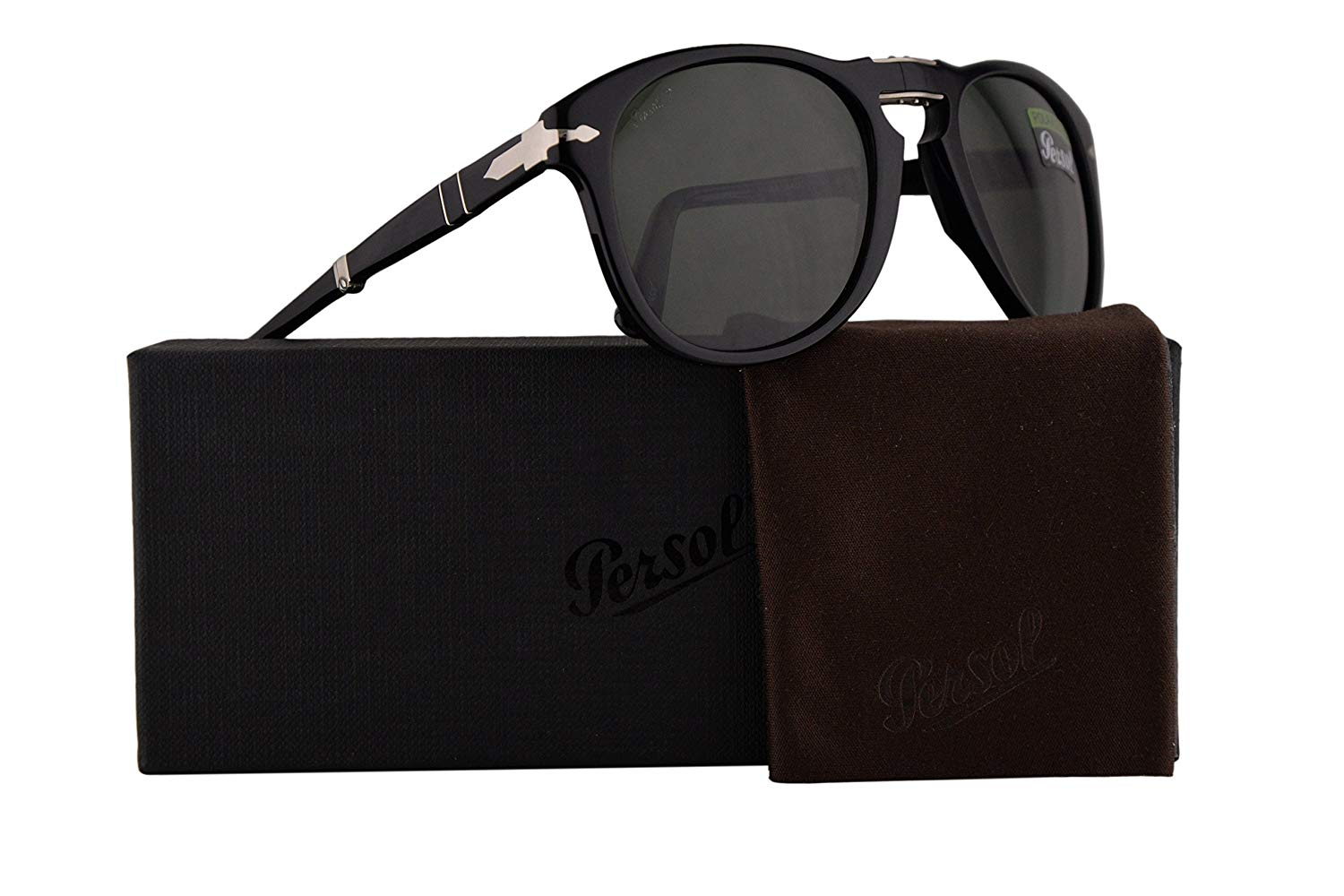 50907cd4b66a4 Get Quotations · Persol PO0714S Folding Sunglasses Black w Polarized Green  Lens 52mm 9558 PO 0714S PO0714-