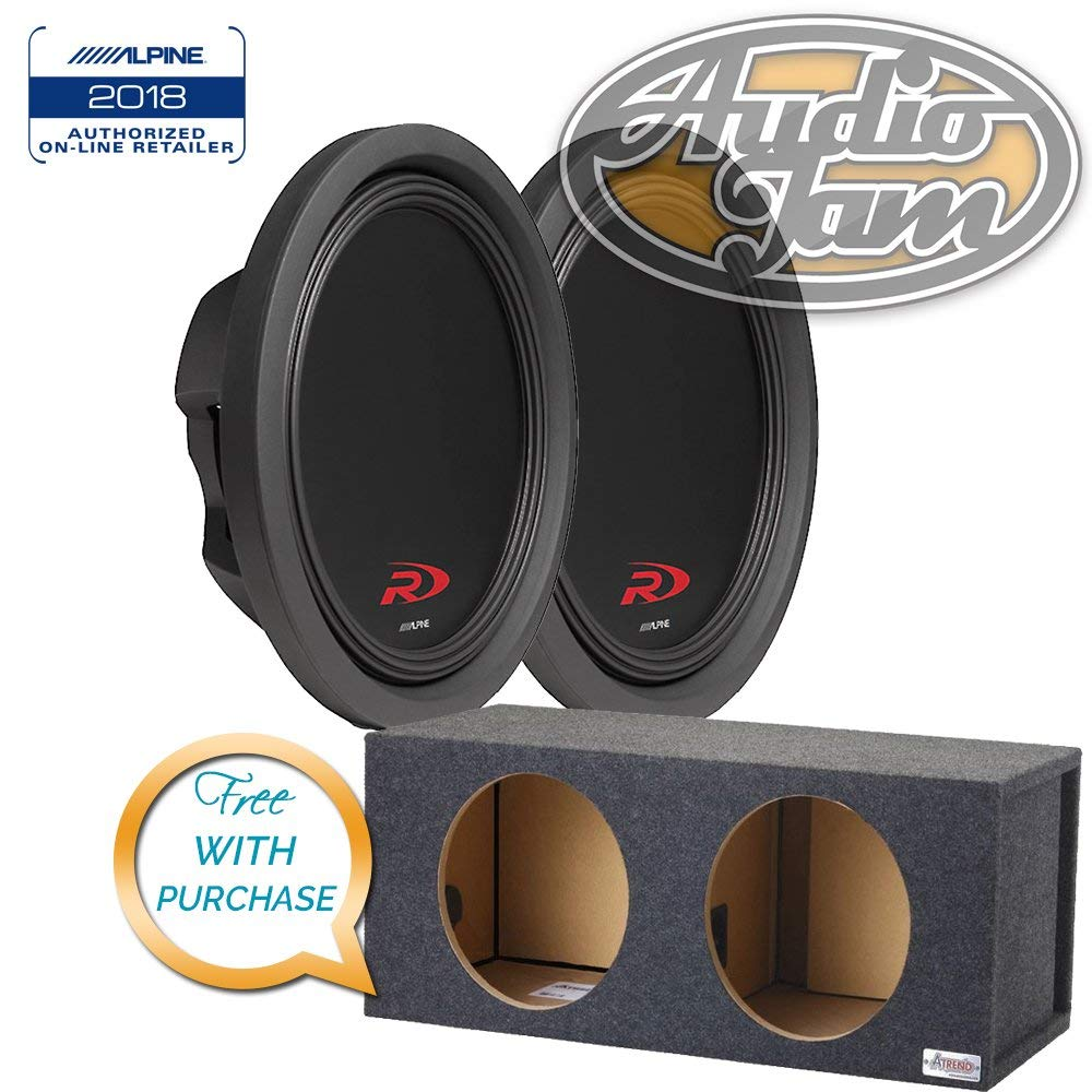 Two Alpine SWR-T12 12-inch Thin Car Subwoofers with Vented Subwoofer Enclosure Box