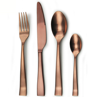 Dishwash safe matte finish stainless steel copper color cutlery