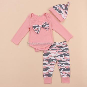 e0e419e99 3Pcs Bodysuit Infant Baby Girl Clothes Jumpsuit Outfit 2018 Baby Pink  Camouflage Top Romper+Pants