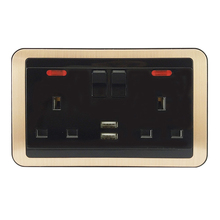 SHARE factory price black color European standard 2 갱 6 핀 socket 및 2 usb outlet 대 한 홈 use