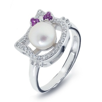 abdca9f59 Ycr6897 Popular Hello Kitty Engagement Silver Pearl Rings - Buy ...