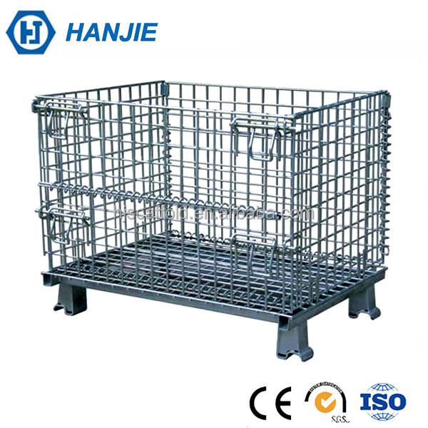 Galvanized iron welded stackable folding storage mesh wire pallet cage