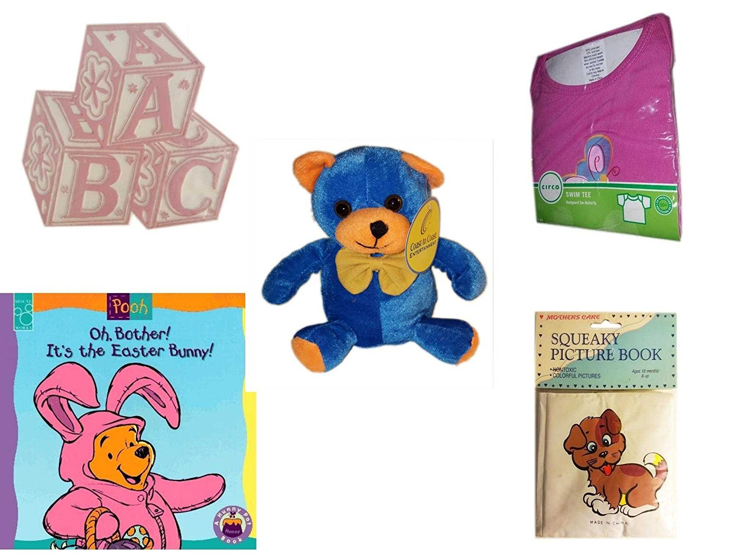 """Children's Gift Bundle - Ages 0-2 [5 Piece] - ABC Baby Blocks Cake Topper Pink Girl - Circo Infant Girls Swim Tee Pink Butterfly Size S 6 Months 13-18 lbs - Blue & Orange Bear 7"""" - Oh, Bother. It's"""