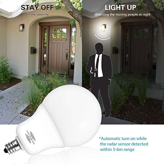 Energy Saving LED Light 6W E12 Radar Sensor Smart Auto Turn on/off LED Night Light Bulb
