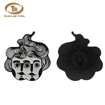 Wholesale custom made metal double head people badge black hard enamel lapel pin