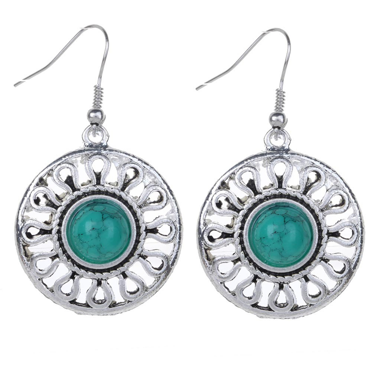 Dubai Latest Design White Gold Turquoise Earrings For Woman Earring Product On