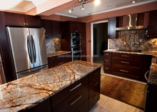 Rain forest brown marble reception countertop,marble bar tops
