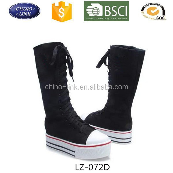 China white canvas shoes wholesale high tube side zipper lace-up high women canvas boots cheerleading dancing shoes sneakers